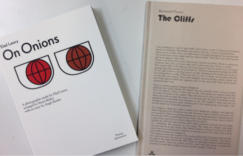 Exciting Monday morning arrivals - Elad Lassry On Onions, designed by Stuart Bailey and published by Primary Information & The Cliffs, J&L Books second publication with Bertrand Fleuret. -ds