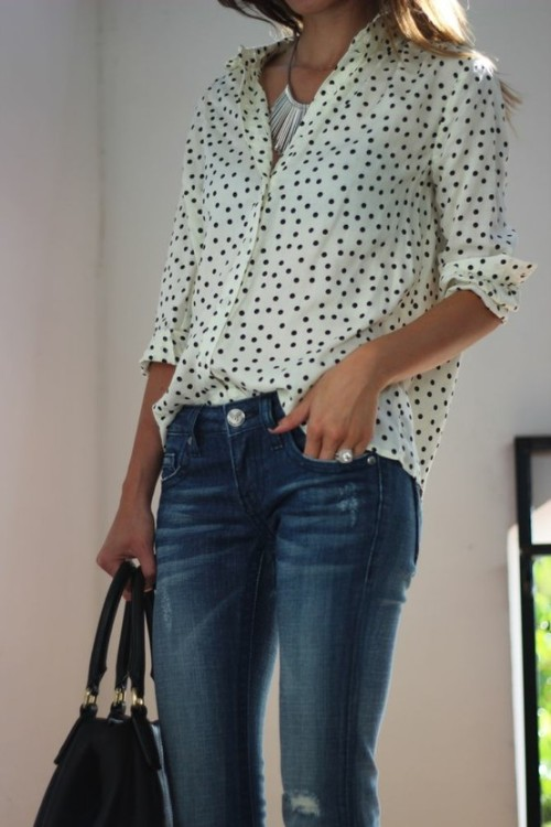 #PinterestFashionFind: Polka dots & jeans. Amazing blouse. Source: @FrankieFashion