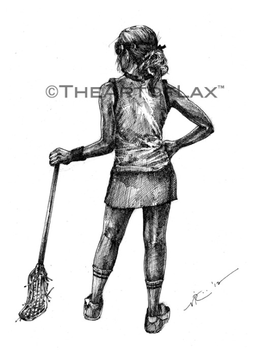 """Lax Girl 3"" New for the ladies of lax! Classic player stance. 8x12 inches. Pen & ink on heavy drawing paper. Now available for purchase at The Art of Lax™. LIKE on Facebook. Follow @TheArtofLax"