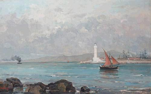 Lighthouse of Marseille  by Pericles Pantazis. 1849 - 1884 artist painter Greek