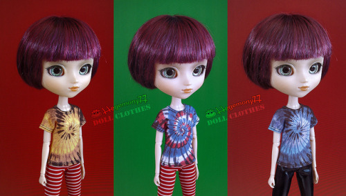 Pullip doll in 3 different tie dye T shirts on Flickr.Doll clothes and photo made by Hegemony77
