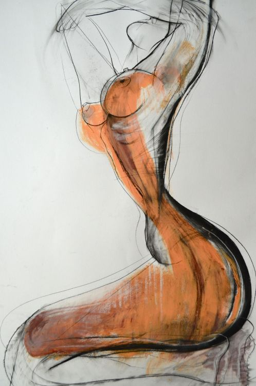 carmeljenkin-art:  Drawing by Carmel Jenkin Spiritdance, charcoal and acrylic on paper, 81cm x 57cm Such a wonderful feeling when the spirit is free and released from burden. This piece will be available for purchase on Daily Painters October 16th