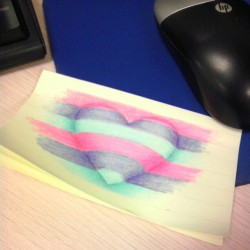 Hello to another work week.  #work #heart #color #sketch #doodle #stickynote #art #drawing #colorpencil #media #love  (Taken with Instagram)