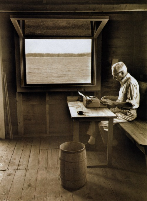 Writer's write, doesn't matter where… cabinporn:  E.B. White writing in his boat shed overlooking Allen Cove, 1976. E.B. (Andy to his friends) wasn't so much a hermit, or even a farmer, as a paid correspondent to the natural world. His essays and journals are frank yet soaring; every word a testament to his overwhelming affection for quiet, observant, country living. This week marks the 60th anniversary of his most famous work, Charlotte's Web, a love letter to the sights and smells of his salt water farm on the Blue Hill peninsula of Maine. The portrait of E.B. was taken by Jill Krementz and can be found in her book The Writer's Image.