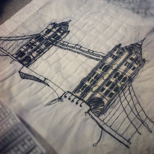 missmeaney:  Finished my attempt of London bridge ! #london #londonbridge #sewing #stitching #threads #fabric #embroidery #experiment #illustration #line #art #artwork #instart #drawing #machine #architecture #sketching #textiles #pattern #uni (Taken with Instagram)
