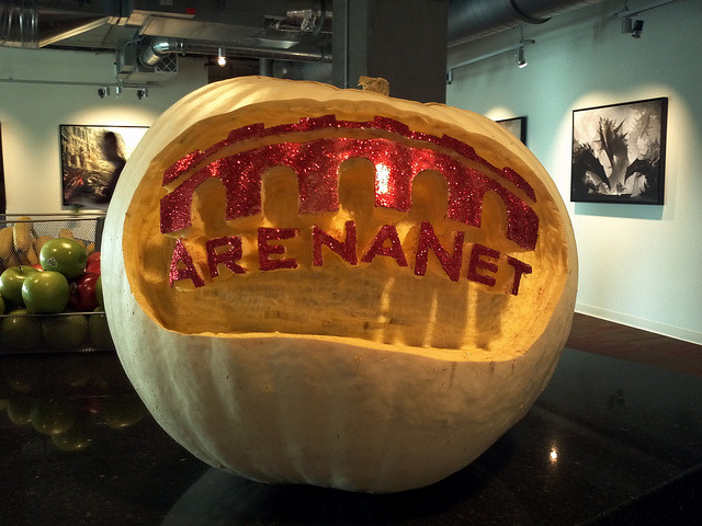 ArenaNet Pumpkin on Flickr. A massive pumpkin carved with the ArenaNet logo was in the office to greet us this morning!