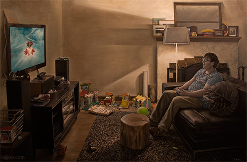 Alex plays a video game with a pill bug (Armadillidiidae) 24in x 36in Oil on Panel