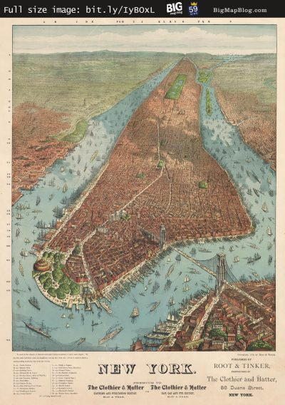 Map: Williams' map of Manhattan (1879) originally posted to the BIG Map Blog.