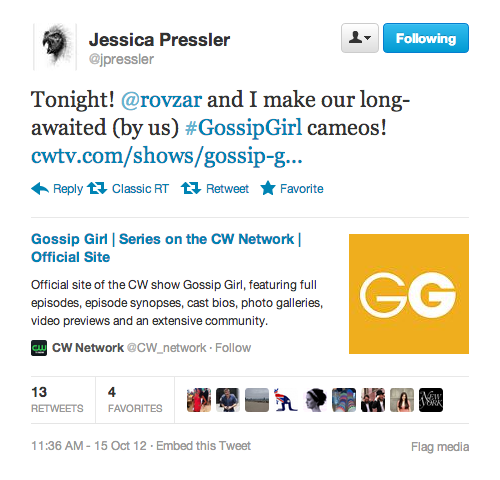 Jessica Pressler and Chris Rovzar of New York Magazine Daily Intel / Vulture fame making a cameo tonight (x)