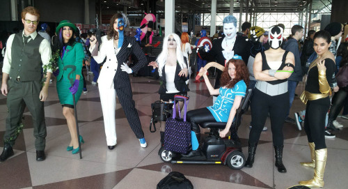 My genderswap DC villans cosplay group! NYCC 2012! Left to right: Poison Ivy, The Riddler, Two-Face, Solomon Grundy, Livewire, Bane, Black Adam, and me in front as Captain Boomerang!  More to come, thanks for this picture, Lance!