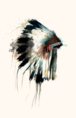 Beautiful painted Native American Indian headdress ~ watercolor art