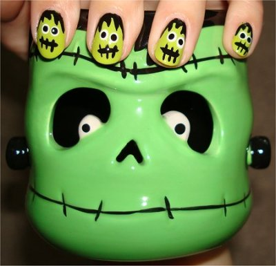 Frankenstein Nails! Halloween Nails Art.