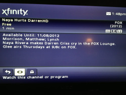 Haha. This is how Comcast puts Naya and Darren's Fox Lounge bit OnDemand.