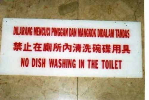 No Toilet Dishwashing in This Country, Sorry  Hey, as long as I can keep defecating in the dishwasher, I'm happy.
