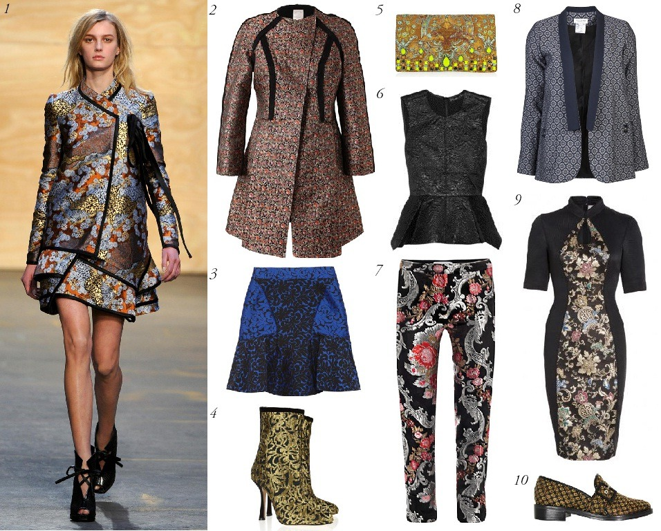 Trend Watch: Brocade Designers have long referenced vintage designs in their creations, but this fall, some of them are looking farther back than usual. No, not the Roaring 20s or even the Victorian Era, but the Late Middle Ages. From Jill Stuart to Marchesa and Proenza Schouler to Jason Wu, we saw piece after piece sewn from rich brocades a la Queen Elizabeth I. But these dresses, trousers, tops, and coats hardly resembled museum pieces. Cut in modern shapes and paired with basics that let them stand out, this attention-grabbing trend is a sure fire way to make a royal-worthy statement.  1. Proenza Schouler 2. Huishan Zhang 3. Stella McCartney 4. Oscar de la Renta 5. Matthew Williamson 7. Osman 8. Roseanna 9. Jason Wu 10. Opening Ceremony Will you be wearing this regal trend this fall?