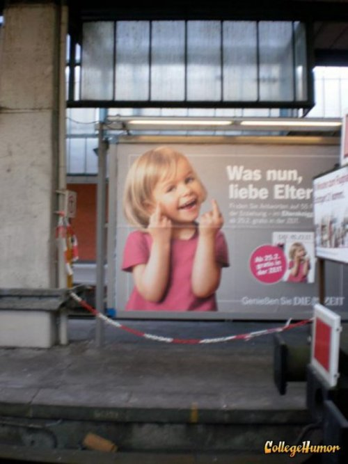 Girl Gives Finger on German Billboard  In Germany it's offensive NOT to flip the bird.