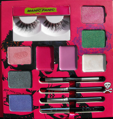 MANIC PANIC Sooo 80's Total Look Kit - has false eyelashes, highlighter, eyeshadows, lip lacquers and liner.