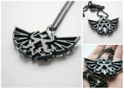 gamerfashion101:  These modern pendant are made from black acrylic (at the top) and mirror plastic★★★Regular Price: 19.95$NOW ONLY 13.95$★★★Pendant measures 2,16x 1,49 inches (55x38 mm) and hangs on 24 inches ( aprox 60 cm) black chain , and closes with a lobster clasp. Purchase Here~~