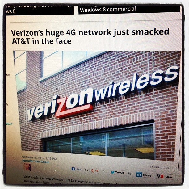 Best headline ever! #verizon #4G #AT&T (Taken with Instagram)