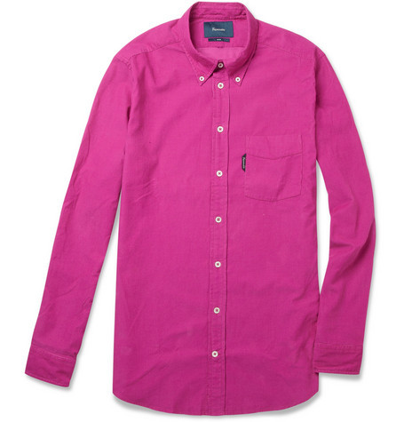 Slim Fit Fine Corduroy Button Down Collar Shirt - Faconnable