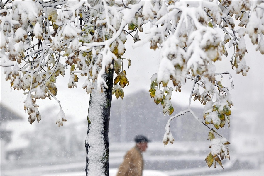 A man walks along a snow-covered street in Churwalden, Switzerland on Oct. 15, 2012. [Credit : Arno Balzarini / EPA]