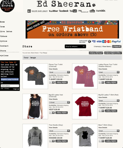 New merchandise has been added to Ed's website! Check it out here: http://edsheeran.com/store.htm