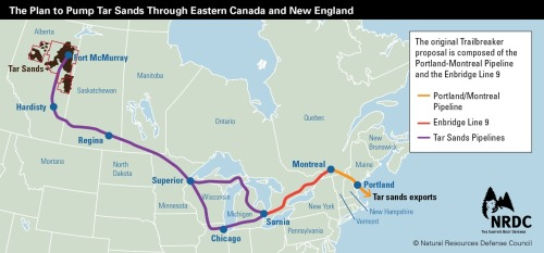 "That Pipeline through New England? It's (Mostly) Owned by Exxon. And They Want to Transport Toxic Tar Sands Oil through It. Last week, ten national and local Maine, Vermont and New Hampshire organizations including NRDC released a fact sheet exposing Big Oil's stealth campaign to bring extra dirty tar sands to New England. What exactly is so troubling about the idea of Exxon's pipeline companies and Enbridge transporting tar sands through Eastern Canada and New England? To name just a few reasons for concern: Tar sands is a dirty fuel – extra damaging and risky to the environment and public health throughout its entire lifecycle of extraction, pipeline transport, refining, and combustion. An area of Alberta's Boreal forest the size of Florida could eventually be decimated if industry is allowed to continue expanding their extraction efforts. The damage from tar sands extends globally, as it causes 20% more greenhouse gas emissions than conventional oil, taking us in the wrong direction when the world needs to transition to clean energy. Tar sands pipelines pose greater safety risks to the land and water along their path. Diluted bitumen – raw tar sands mixed with a diluent so that it can be transported via pipelines – is more corrosive and abrasive than conventional oil, creating a greater spill risk. And, when tar sands pipelines do spill into rivers, rather than floating on the surface, the diluted bitumen separates – with the diluents evaporating and the bitumen becoming submerged and impossible to fully clean up. Exxon and Enbridge already have a bad track record with tar sands pipelines. ExxonMobil, the company responsible for the disastrous Valdez oil spill that rocked the world in 1989, was also responsible for the July 2011 Silvertip Pipeline spill that dumped 42,000 gallons of oil into the pristine Yellowstone River in Montana. While that oil spilled happened to be conventional crude oil, the pipeline is also used to move corrosive tar sands ""diluted bitumen."" Enbridge's best-known pipeline spill was the million gallon tar sands spill into Michigan's Kalamazoo River in July 2010. Just last week—more than two years after the spill – the Environmental Protection Agency told Enbridge that they still need to keep cleaning up the river. Read more."
