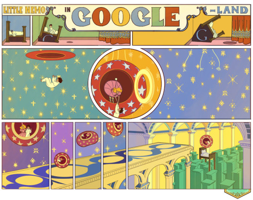 "Little Nemo falling through ""GOOGLE-Land"" The search giant honors the 107th anniversary of Winsor McCay's ""Little Nemo"" with an imaginative, interactive Google Doodle inspired by the original, illustrative style of the ""Little Nemo in Slumberland"" comic strip. (In October of 1905, Winsor McCay's comic strip, ""Little Nemo in Slumberland,"" began its printed run in newspapers. Some later printings of the fantastical comic strip were renamed ""In the Land of Wonderful Dreams."")"