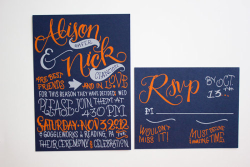 Hand-lettered wedding invitations by Faye and Co