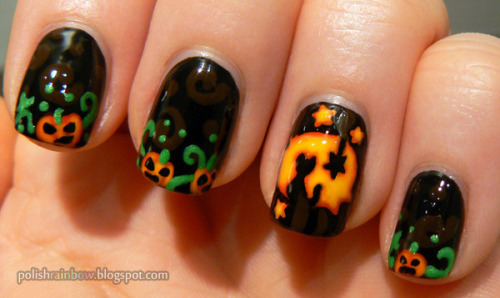 beautylish:  Adorable Jack O' Lantern nails by Shannon J.!  Love these nails!