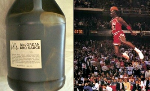 Michael Jordan's 'McJordan' 1992 McDonald's Sauce Hits Ebay for $10K  Jordan and McDonald's launched the McJordan Burger in 1992. The all-star sandwich consisted of a quarter-pound beef patty with onions, pickles, cheese and bacon and a special barbecue sauce made specifically for the McJordan. The burger was sold at limited franchises around the US for a limited time that year.  Nearly 20 years later, a posting on Ebay brought back the 90s in the form of a unopened, one gallon jug of special McJordan barbecue sauce. The going price? $9,995.