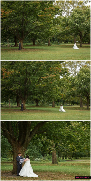 "I love a good ""First Look"" under a glorious tree! Congratulations Kim & Ryan, y'all are too cute."