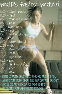 Got 4 minutes? You've got time to workoutThis is a HIIT (High Intensity Interval Training) workout that will only take you 4 minutes.  Grab…View Postshared via WordPress.com