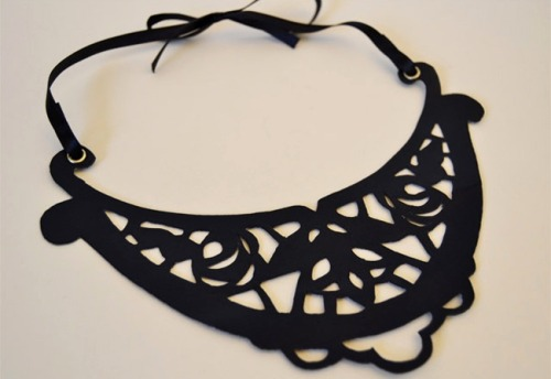 DIY Cut Out Leather Necklace with Template from A Matter of Style from style.it here. Everything is cut out with scissors for this tutorial.