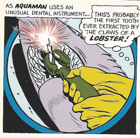 Aquaman uses his Lobster Pliars. Yep.
