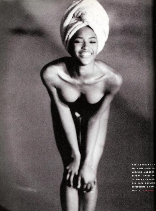 "80s-90s-supermodels:  ""Free"", Vogue Italia, May 1990Model : Naomi Campbell"