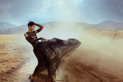 vogue:  Rihanna in a Valentino lace dressPhotographed by Annie LeibovitzSee the slideshow