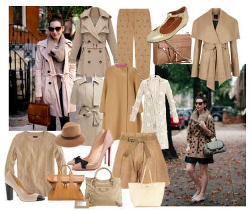 FASHION FOCUS: PERFECT THE PALETTE - Neutrals 1. J.Crew Collection cashmere cable sweater 2. Ted Baker MATILD short wrap coat 3. Jil Sander Camel Oversized Wool Coat 4. Chloe Floral embroidered lace coat 5. ROMWE Slim Medium Style Khaki Trench Coat 6. ROMWE Slim Detachable Wraps Cream-colored trench coat 7. See by Chloe High-waisted leather shorts 8. J.Crew Sequined wool pants 9. Christian Louboutin Love Me Heels 10. Mulberry Eliza T-Bar Ballerina Dusty Gold Sparkly Leather flats 11. J.Crew Etta Cap Toe Leather Pumps 12. Balenciaga Arena Giant 12 Rose Gold Velo bag 13. Rebecca Minkoff MAC Clutch 14. 3.1 Phillip Lim 31 Hour Bag 15. Mulberry Dorset Tote 16. J.Crew Patricia Underwood Fedora Hat Ah Autumn, tis the season for trees shedding leaves, hot chocolate in the park and crispness in the air. Fashion-wise, it's personally one of my favorite seasons to dress for, and one of the easiest. If in doubt, an essential go to is sporting the traditional autumnal palette which for the most part is made up of neutrals, with added elements including deep reds and and greens. Above you'll find some popular neutral pieces as seen this season, which sport popular silhouettes, textures and fabrics.  ——————————————————————————————————————- Shop my personal style looks for this trend by visiting each of the following links: one;two;