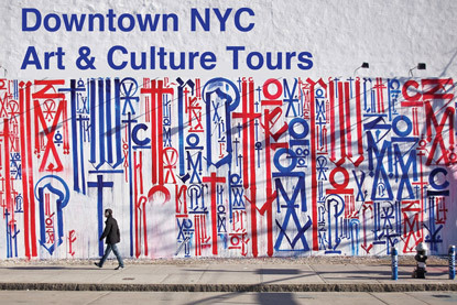 Downtown NYC Art & Culture Tour - November 10, 2012. Many artists, filmmakers, musicians, writers, dancers and fashion designers have called Downtown NYC home since the 1940s. Past residents included Robert Rauschenberg, Yoko Ono, Roy Lichtenstein, William S. Burroughs, Mark Rothko, James Rosenquist, Chuck Close, Keith Haring, Jean-Michel Basquiat, Robert Mapplethorpe, Merce Cunningham, Patricia Field, Talking Heads and many others. Recent decades have transformed Downtown from a gritty slum to contemporary art and cultural district. We will visit some of the most exciting galleries in the neighborhood and learn about their current exhibits. The tour will also point out important cultural locations including artist studios, graffiti hot spots, DIY music venues, theaters and legendary party locations.