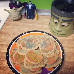 jennifersayss:  I baked more halloween cookies 😊 yum! 🎃👻🍪 #sugarcookies #pumpkins #ghosts #witches #frank #frankenstein #hoteltransylvania (Taken with Instagram)
