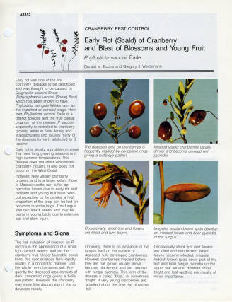 Cranberry Pest Control pamphlet, University of Wisconsin-Extension, 1986. The Extension published a series of pamphlets on cranberry pest control to help Wisconsin cranberry farmers identify diseases and other threats to their crops. via: Wetherby Cranberry Library, Wisconsin Cranberry Discovery Center