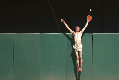 jesus-everywhere:  Jesus Robbing A Home Run by The Sultan  *DEEEEEEEEEEAAAAAAAAAAAD*