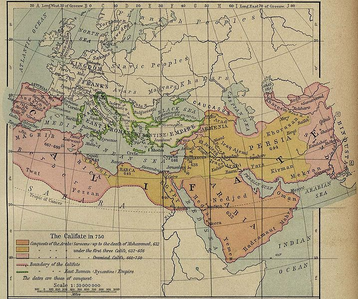 The Umayyad Caliphate's extent in the Near East of Asia, and North Africa, and Southwestern Europe Al-Andalus (Cordoba)