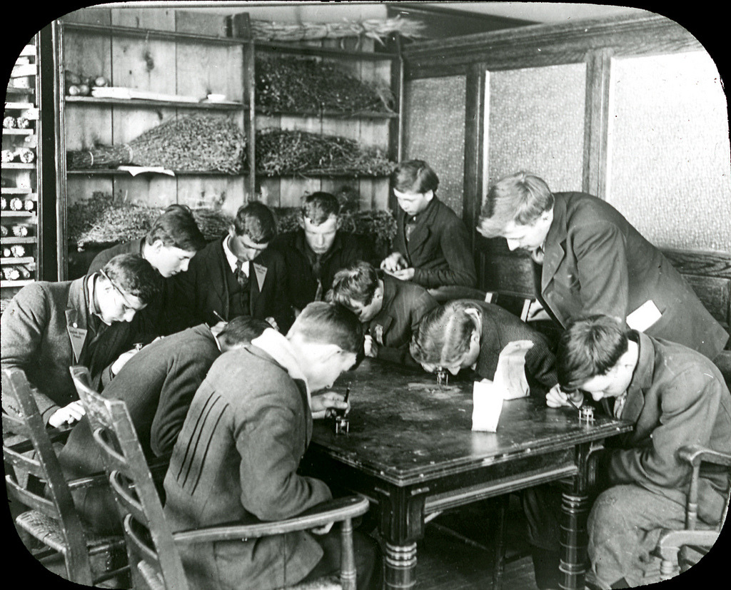 Students studying grass and weed seeds, University of Wisconsin-Madison. One of a series of glass lantern slides used by Frank N. Campbell, the assistant director of the Cooperative Agricultural Extension Service in charge of Wisconsin 4-H Club work in the early to mid-20th century. via: Frank N. Campbell Lantern Slide Collection, University of Wisconsin-Madison Archives see more: Check out the UW-Madison Archives on Flickr and on Tumblr!