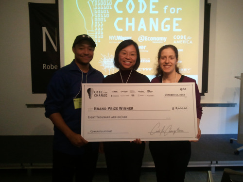 Congratulations Code for Change winners! Congratulations to all the teams who entered and to all the challengers who participated! Grand Prize: CERT Mobile App, solution to the Community Emergency Response Team (CERT) challenge. CERT Mobile is an easy-to-use app to help facilitate communication and information exchange among volunteer emergency responders in the immediate wake of a disaster.   Team members: Aaron Pelzer, Panela Leung, and Jacqueline Gordon. Change Prize:  VoteScope, solution to the NYC Campaign Finance Board - Voter Assistance Advisory Committee challenge.  VoteScope app provides citizens with the information to engage with the democratic process, and fosters higher voter participation in elections.  Team members:  Jeremy Baron, Valentina Camacho, Sarah Davidson, Maria Rabinovich, Nathan Storey, Rene Yap. Promise Prize:  FloatingPin, solution to the CUNY Institute for Software Design and Development challenge.  FloatingPin is a virtual campus bulletin board that enables students to exchange, rather than buy, textbooks – and defrays their higher-education costs. Team members: Kiran Koduru, Amit Lama, Panela Leung, Raju Maharjan, Milan Shrestha. Popular Choice Prize:  Bookmark'd, solution to the Network for Teaching Entrepreneurship challenge.  Bookmark'd is a new platform enabling middle and high school students to write and share their own book reviews with one another, and creating a space for online reader discussion groups about literature. Team members: Yangbo Du, Panela Leung, Meera Ravi, Becky Scott, Kevin Shi. Code for Change will be following up with networking and opportunities with all teams regardless of their outcome.  For more information, visit http://applicationsforgood.org #CodeforChange