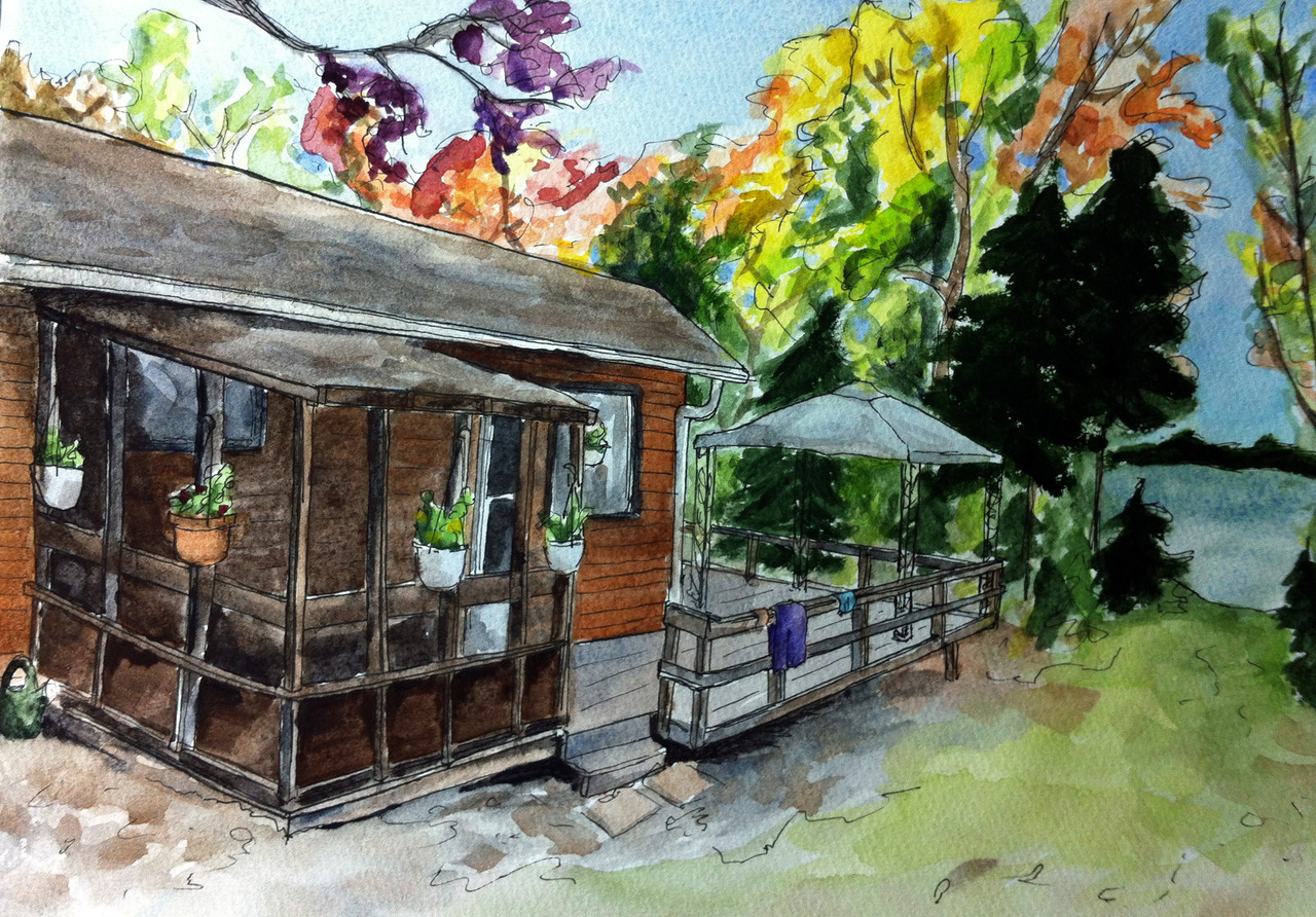 Painting of our family cottage, for my granddad's 90th birthday. A few perspective issues, I think (bleh) but otherwise I'm really happy with it.