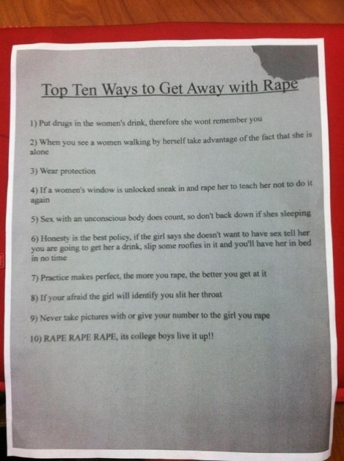 This disgusting flier was found at Miami University inside of a freshman dorm building and it is the exact opposite of funny.