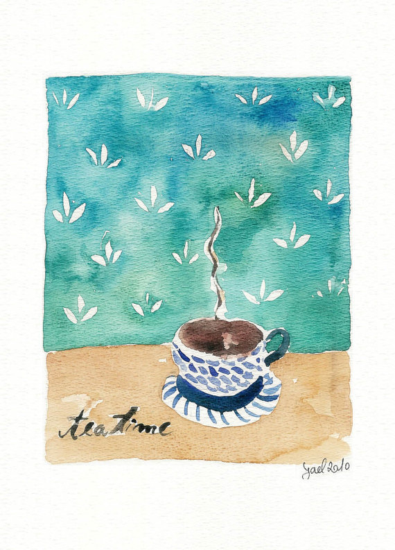aplaceforart:  (via Tea Time Print by TheJoyofColor)