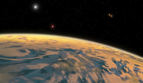 the-star-stuff:  Unprecedented: Amateur astronomers discover a planet with four suns Two volunteer astronomers have confirmed the existence of a Neptune-like planet that has four suns, making it the first quadruple star system ever discovered. The planet, which is 5,000 light years away from Earth, closely orbits one pair of stars, which in turn forms a unit that revolves around a second pair at a distance of around 1,000 AU. Illustration by Ron Miller.