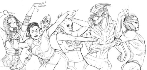 mutantlexi:  queensimia:  What began as a doodle of Shepard dancing awkwardly turned into a full-on Uncoordinated Dance Party. (at least partially influenced by this)  O_O Liara's doing the lawn sprinkler, and Tali looks like she is at a Rave… and gods what is Thane doing?